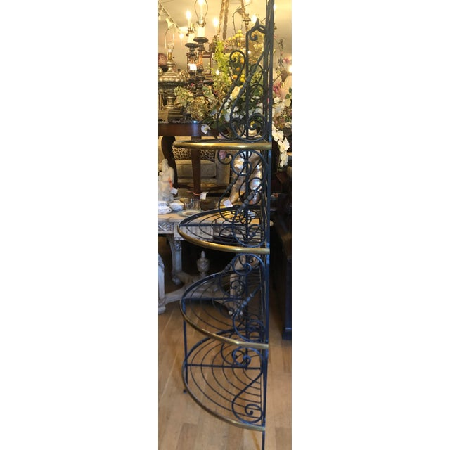 French Vintage Petit French Iron and Bronze Demilune Baker's Rack For Sale - Image 3 of 6