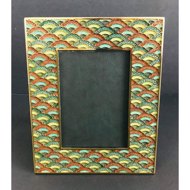 Multi-color shagreen and 24 karate gold-plated photo frame by Fabio Ltd Height: 10.5 inches / Width: 8.5 inches / Depth: 1...