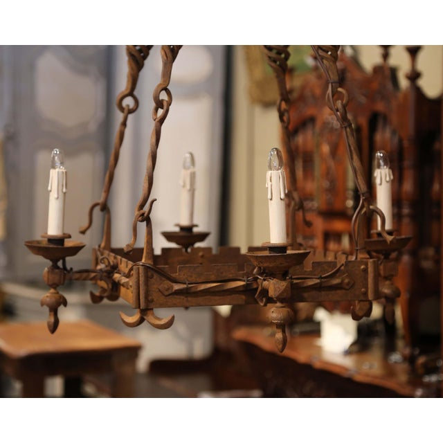 French 19th Century French Gothic Square Wrought Iron Four-Light Chandelier For Sale - Image 3 of 9