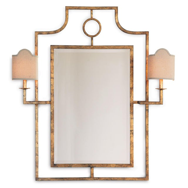 Traditional Doheny Gold Mirror With Sconces For Sale - Image 3 of 3