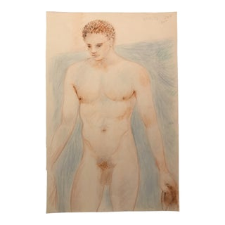 1990s Standing Male Nude Drawing For Sale