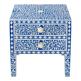 Indian Bone Inlaid Blue & White Nightstand