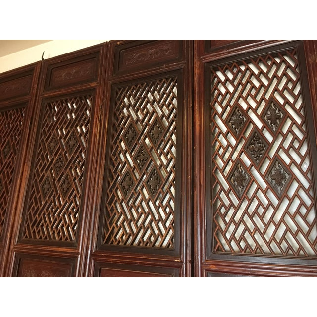 Antique Chinese Carved Wood Doors - Set of 4 For Sale - Image 4 of 12