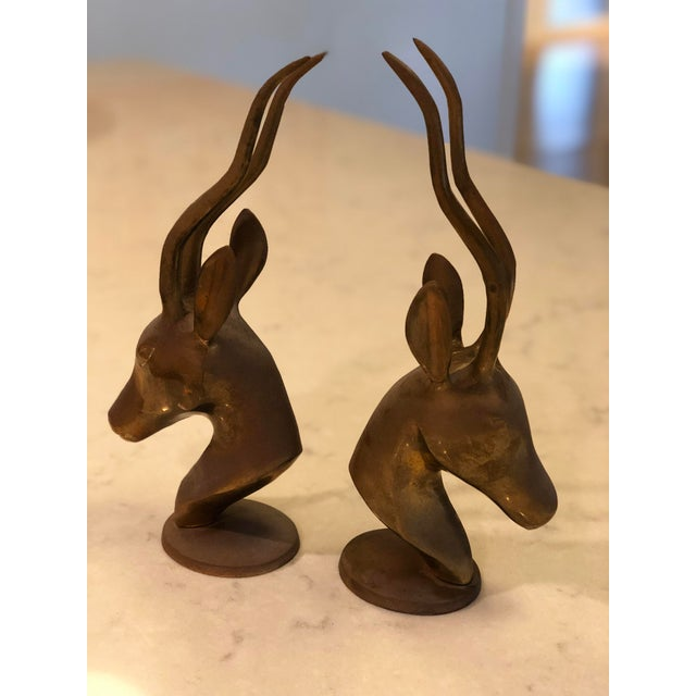 Boho Chic Vintage Brass Gazelle Figurines/Bookends - a Pair For Sale - Image 3 of 8