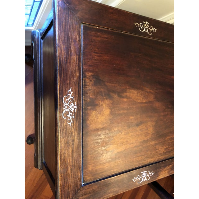 1980's Chinese Rosewood Desk & Chair - 2 Pieces For Sale - Image 9 of 10