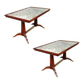 Maison Ramsay Superb Pair of Dining Tables With Superb Refined Gold Bronze For Sale