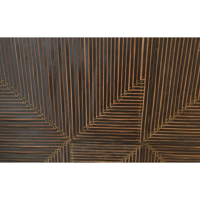 2010s Michelle Peterson-Albandoz Mixed Media Contemporary Leather Panels - a Pair For Sale - Image 5 of 6