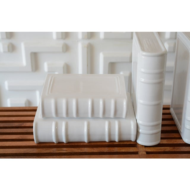 1980s Post Modern Ceramic White Book Sculptures - 6 Piece Set For Sale - Image 5 of 10