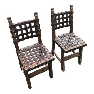 Spanish Heavy Strap Leather and Nailhead Side Dining Chairs- a Pair For Sale