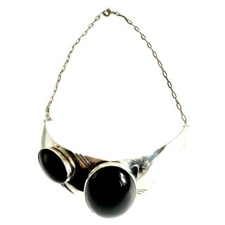 20th Century Modernist Navajo Style Sterling & Onyx Choker Necklace-Signed For Sale