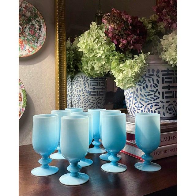 Portieux Vallerysthal 1930s Portieux Vallerysthal French Blue Opaline Cocktail / Low Stem Wine Glasses - Set of 9 For Sale - Image 4 of 13
