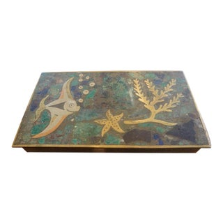 1940s Vintage Nautical Hinged Brass Box For Sale