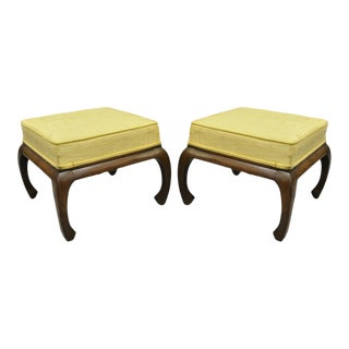 Vintage Chinoiserie Ming Style Box Seat Upholstered Ottomans Stools - a Pair For Sale
