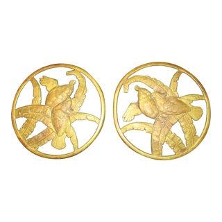 Art Deco Gilt Bronze Rondells - a Pair For Sale