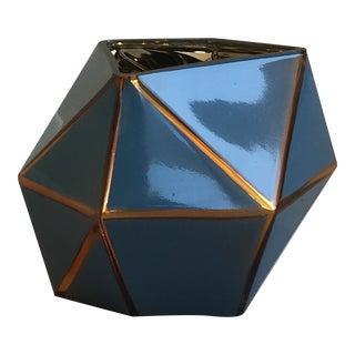 Tozai Home Blue & Golden Geometric Glass Vase For Sale