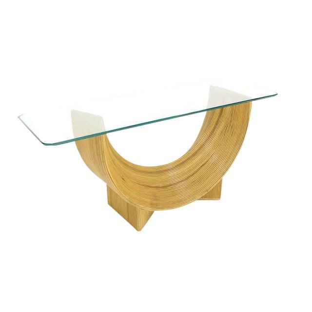 Midcentury Rattan U Shape Base Glass Top Console Sofa Table For Sale
