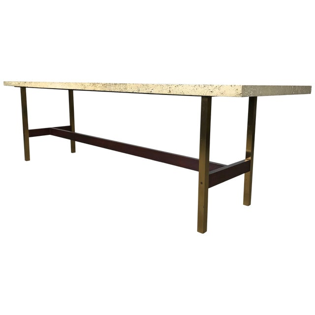 Unique Travertine Walnut and Brass Cocktail Table Designed by Phillip Enfield For Sale