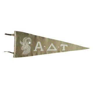 Vintage Alpha Delta Tau Greek Life Felt Flag Pennant For Sale