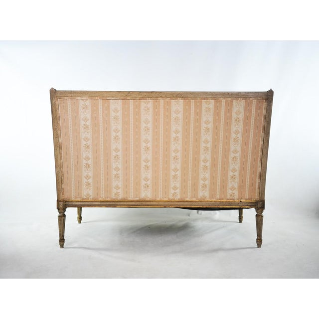 Late 19th C. Louis XVI Style Distressed Settee For Sale - Image 9 of 11