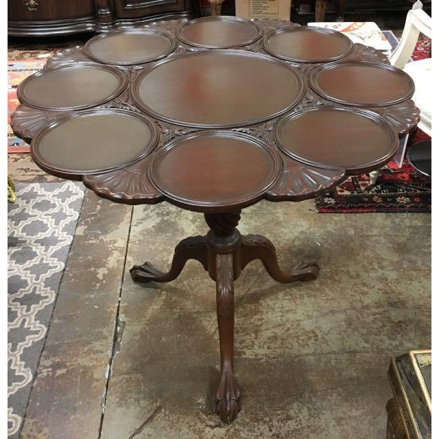 Vintage Kittinger Furniture Tilt-top tea table. This is an extra fancy, solid mahogany, tea table. The top is divided into...