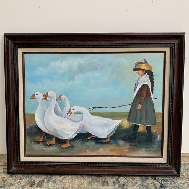 """Vintage """"Girl Herding Geese"""" Signed Oil on Canvas Framed Painting For Sale In Los Angeles - Image 6 of 7"""