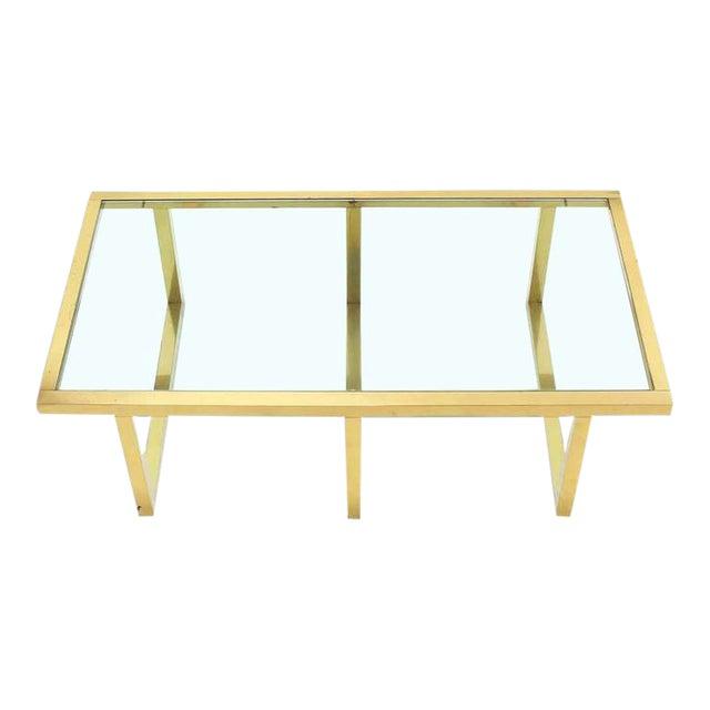 Mid Century Modern Rectangular Brass And Glass Coffee Table Chairish