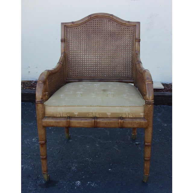 Traditional Vintage Faux Bamboo & Cane Chair For Sale - Image 3 of 4