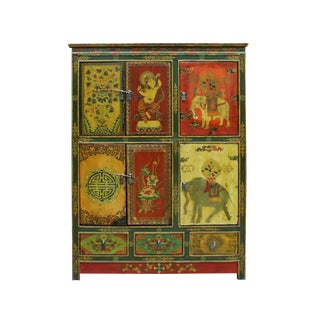 Chinese Tibetan Jewel Flower Elephant Deity Graphic Tall Credenza Cabinet For Sale