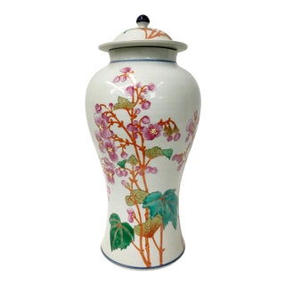 Vintage Famille Rose Temple Jar With Peach Blossom Design For Sale