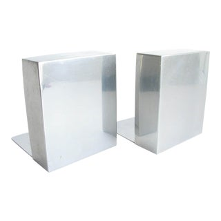 Vintage Aluminum Block Bookends by Smith Metal Arts Company - a Pair For Sale