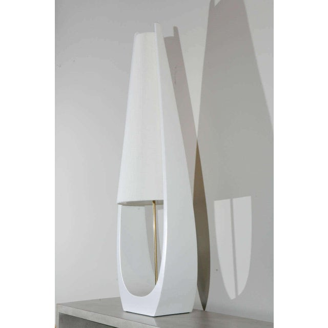 Circa 1970's design Wishbone Table Lamp by Paul Marra shown in lacquered finish and linen shade. Brass Hardware Edison...