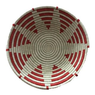 Red & White Star Motif African Basket For Sale