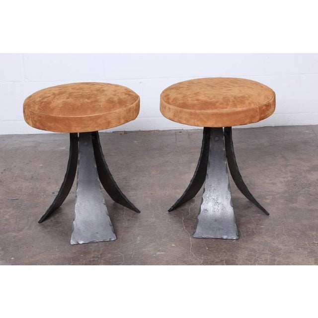 Brutalist Pair of Forged Steel Stools Designed by John Baldasare For Sale - Image 3 of 10