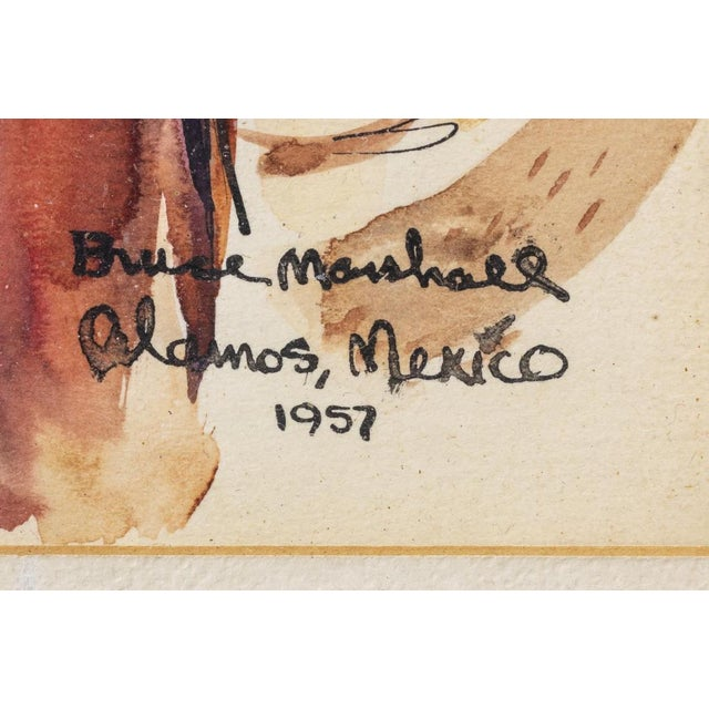 Rustic Vintage Framed Watercolor of Alamos, Mexico by Bruce Marshall For Sale - Image 3 of 5