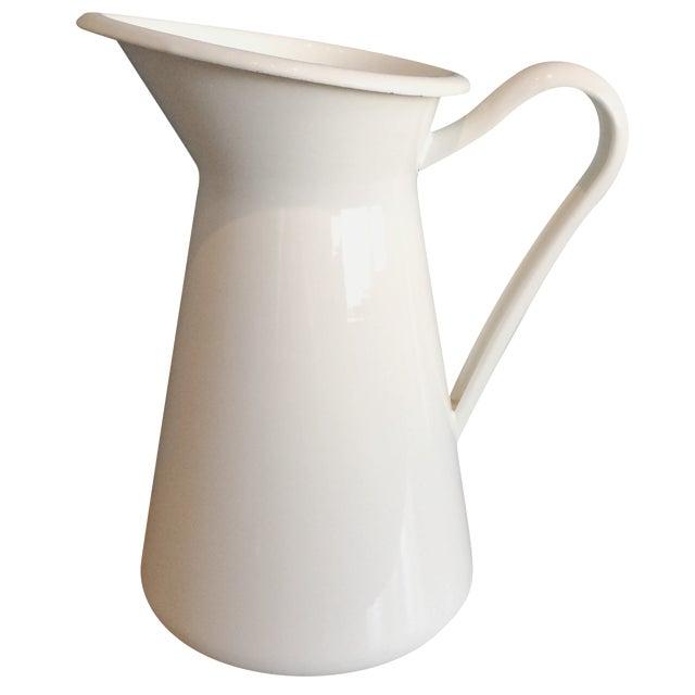 White Enamel Pitcher - Image 1 of 6