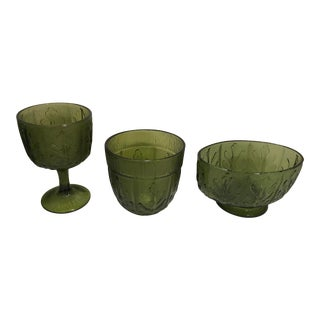 1970s Vintage Federal Glass Green Serving Set- 3 Pieces For Sale