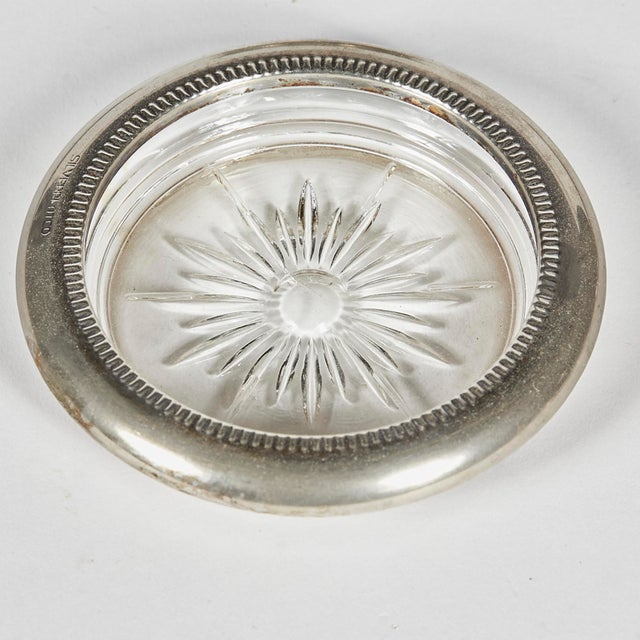 1960s set of six glass and silverplate coasters. Marked.