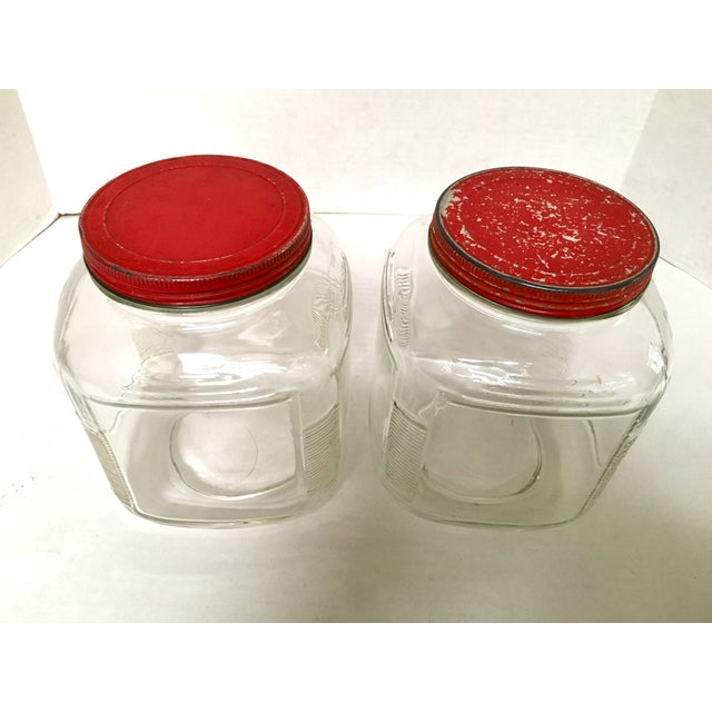 Vintage Hoosier Square Glass Canisters - A Pair For Sale - Image 5 of 8