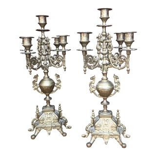 Italian Brass Candelabra - a Pair For Sale
