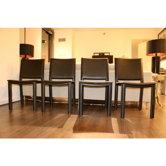 Modern Room and Board Madrid Leather Chairs- Set of 4 For Sale - Image 3 of 6