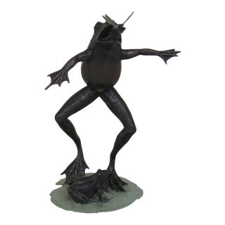 Signature Statuary Bronze Frog & Dragonfly Fountain For Sale