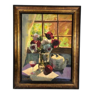Late 20th Century Grinnell Signed & Framed Still Life with Roses & Red Wine Painting For Sale
