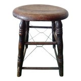 Image of Antique Shabby Chic Oak Farm Stool For Sale