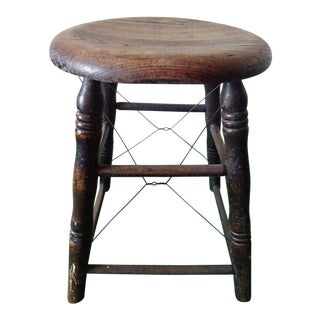 Antique Shabby Chic Oak Farm Stool For Sale