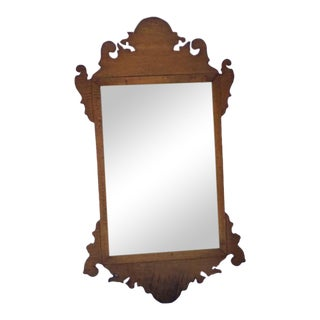 Early 20th Century Chippendale-Style Tiger Maple Mirror For Sale