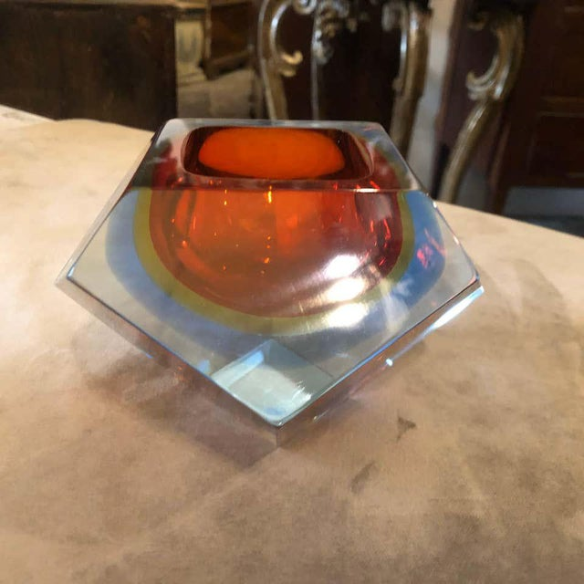 Glass 1960s Seguso Sommerso Faceted Murano Glass Ashtray For Sale - Image 7 of 11