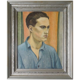 Wpa Artist Original Oil Painting 40s Portrait of a Handsome Man For Sale