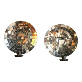 Mid-Century Modern Large Mirrored Sconces - a Pair For Sale