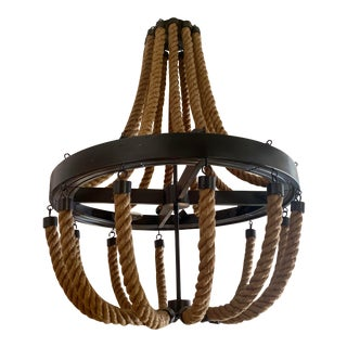 Nautical Style Rope and Iron Chandelier For Sale