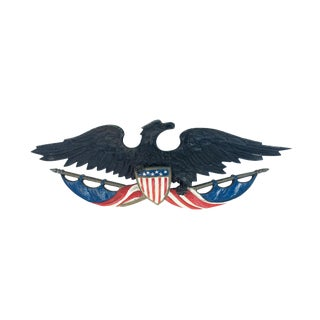 Cast Iron American Eagle Metal Wall Hanging With Crest and Flags For Sale